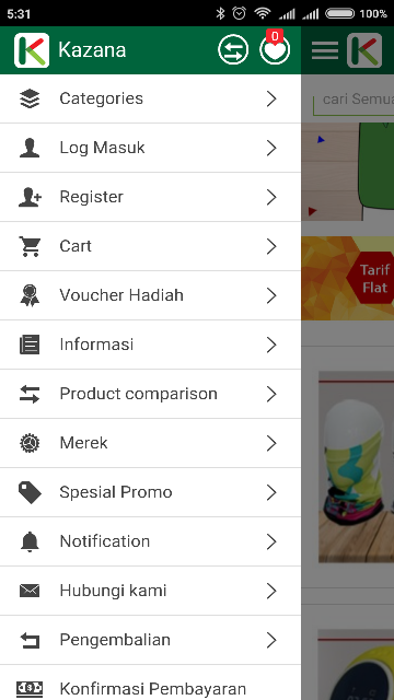 Navigasi Aplikasi dan Kategori