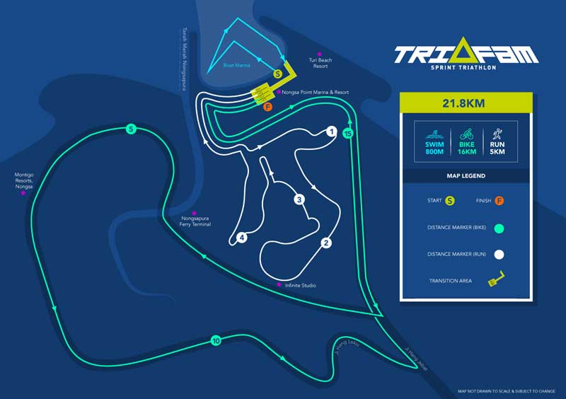 Route of Trifam Sprint Triathlon 2016 in Turi Beach Resort